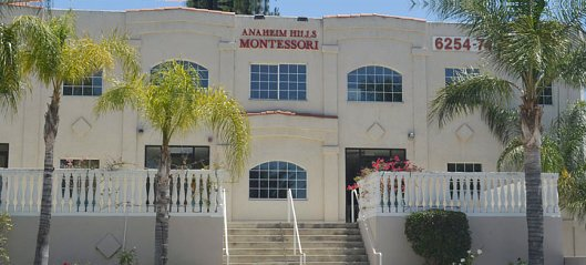 Front view of Anaheim Hills Montessori School building